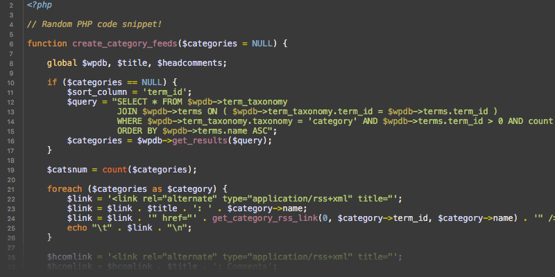 [ Screenshot: PHP code snippet in syntax-highlighted form ]