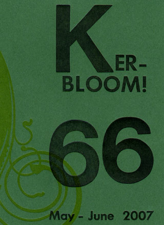 [ Image: Cover of Karen Switzer's letterpress-printed zine 'Kerbloom', depicting custom-set title font on dark-green card stock ]