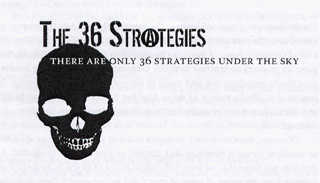 [ Image: Cover of '36 Strategies' zine, depicting a skull and some cool fontage ]