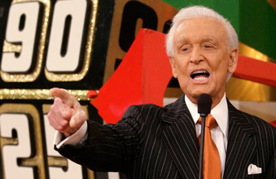 [ Photo: Bob Barker points a finger ]
