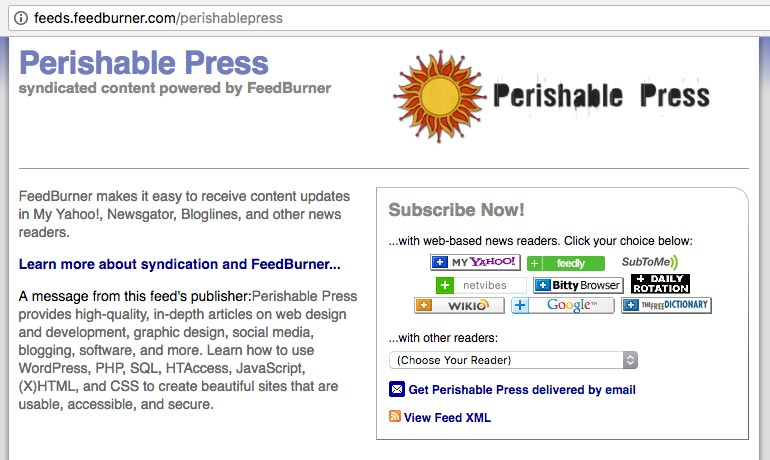 [ Screenshot: Perishable Press main-feed landing page, showing the persistent Feedburner-specific URL in the address bar ]
