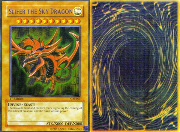 [ Front/back scans of counterfeit Slifer Yu-Gi-Oh! card ]