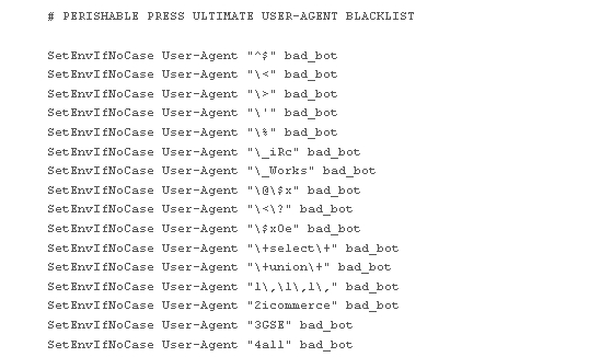 [ Uncompressed view of the Ultimate User-Agent Blacklist (click image for full-size view) ]