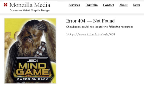 [ Screenshot: Monzilla Media 404 Page ]