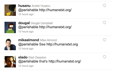 [ Screenshot: Tweets about humanstxt.org ]