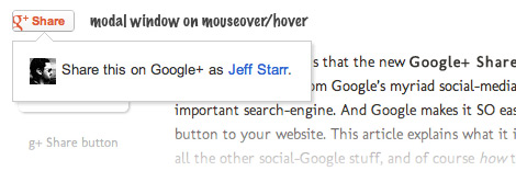 [ Share button popup on mouseover/hover (logged in) ]