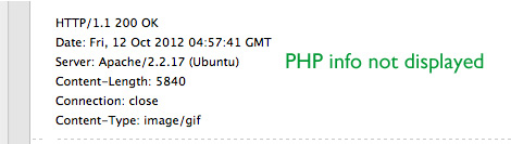 [ Screenshot: PHP Info NOT sent via X-Powered-By Response Header ]