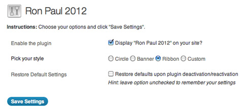 [ Screenshot: RP2012 Plugin Settings ]