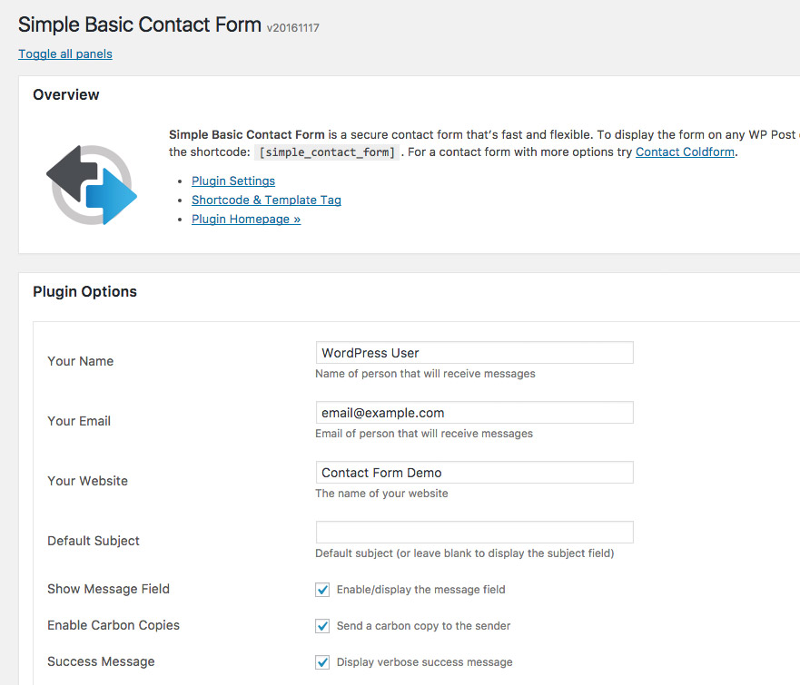 [ WordPress Plugin: Simple Basic Contact Form ]