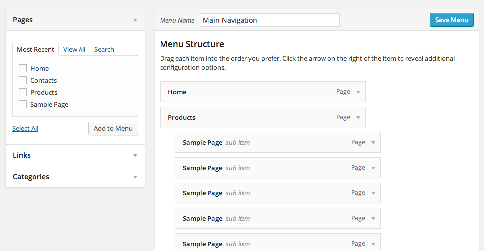 WordPress Admin Area - Appearance - Menus