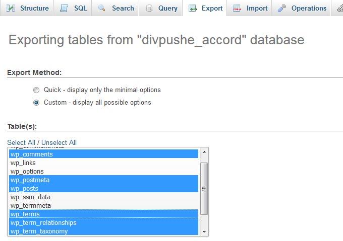 phpMyAdmin Export SQL Dump