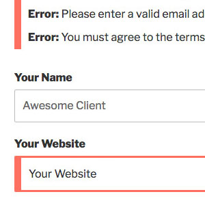 [ Contact Form X: Error Display ]