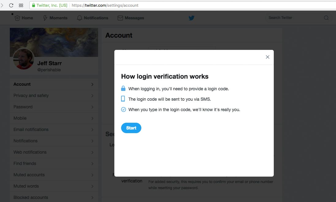 [ Twitter Login Verification - Start Screen ]