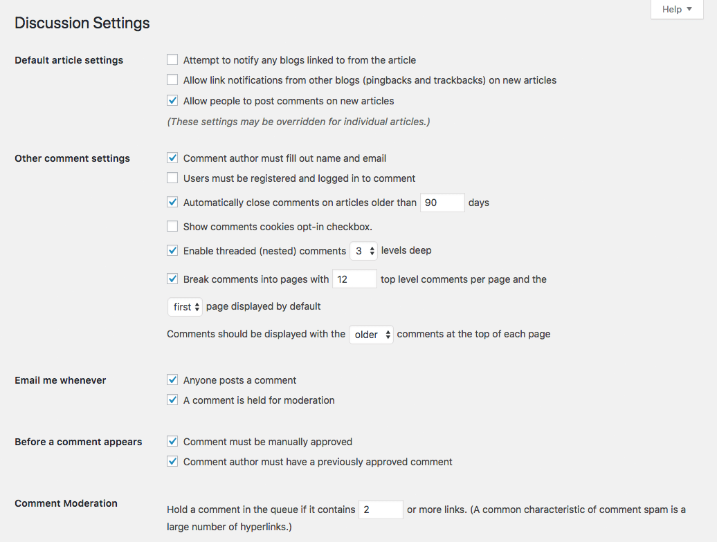 [ WordPress Discussion Settings ]