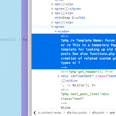 [ Screenshot showing the source code of the broken code ]