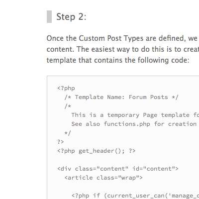 [ Screenshot showing proper display of PHP code snippet ]