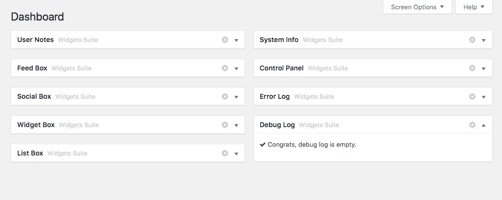 [ Dashboard Widgets Suite - Default Widget Names ]