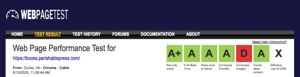 [ Bookstore performance results at webpagetest.org ]