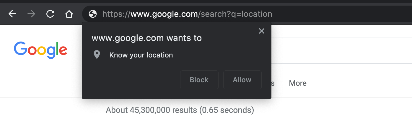 Chrome location prompt