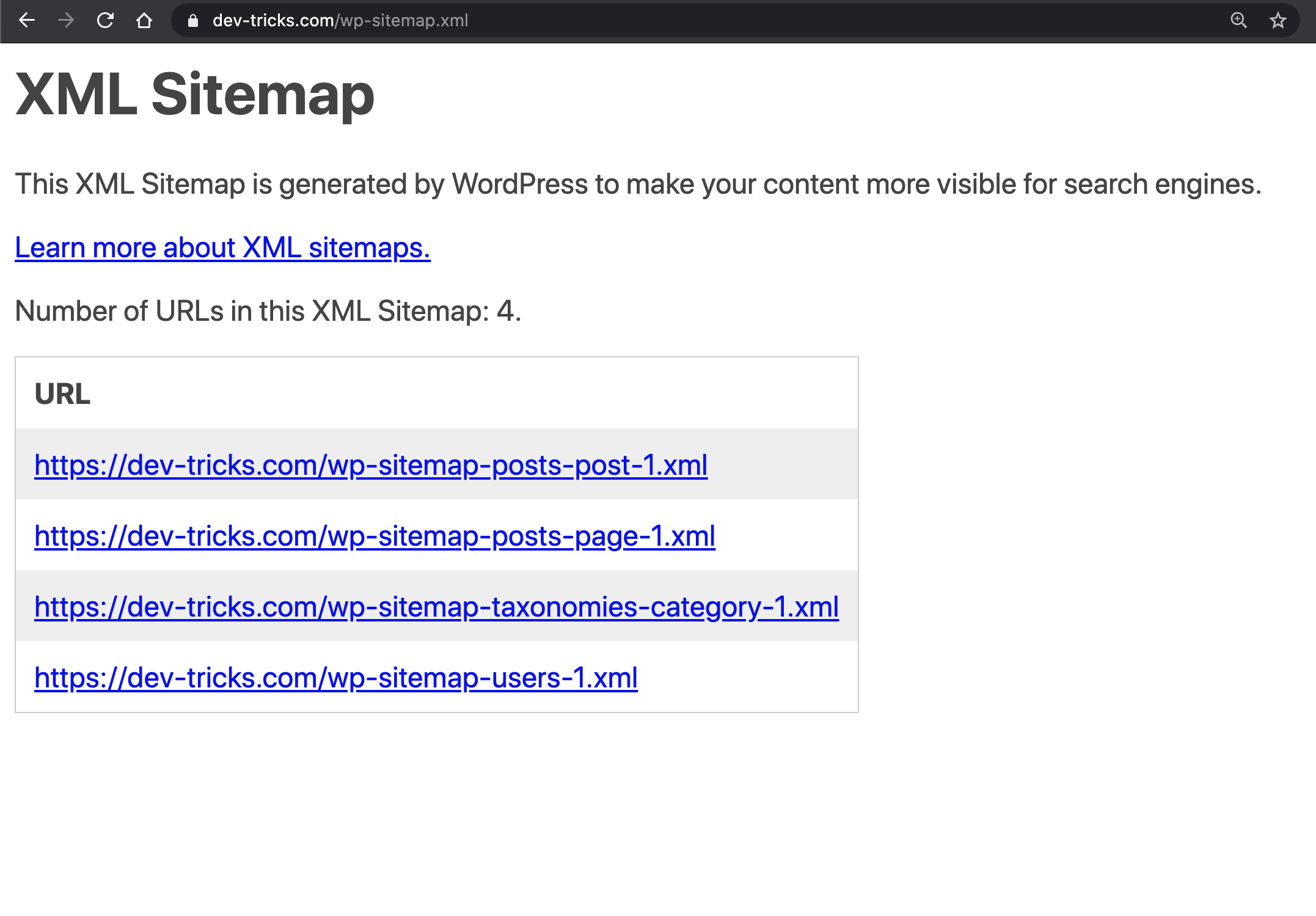 New WP Sitemap rocking at Dev-Tricks.com