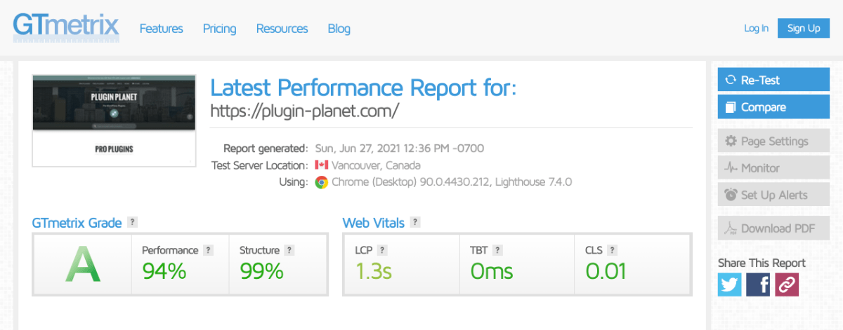 Performance results at gtmetrix.com