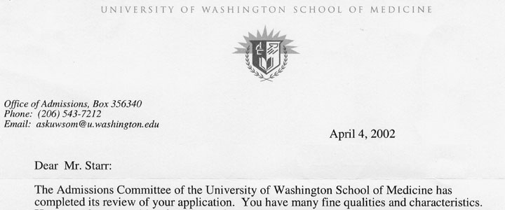 University of Washington Medical School Rejection Letter